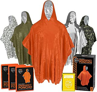 Emergency Rain Ponchos (3-Pack), Reusable Mylar Poncho for Men, Women, Kids, Adults + Emergency Gold Thermal Blanket for C...