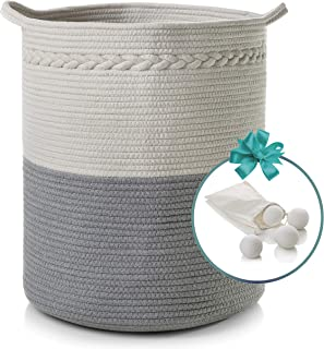 """Cotton Rope Basket for Dirty Clothes, Kids Toy Storage, Dog Toys, More –Extra Large, 18"""" x 16"""" Woven Round Basket – Apartment and Nursery Decor Folding Laundry Basket + Free Wool Dryer Balls by Booby"""