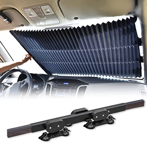 lowest EcoNour Car Retractable Windshield Sun Shade | Aluminum Cloth Fabric Sunshade to Block 99% Sun Heat and UV | Car Sun online sale Visor to Protect Car Interiors | Adjustable lowest Universal Size | Fits for All Cars online