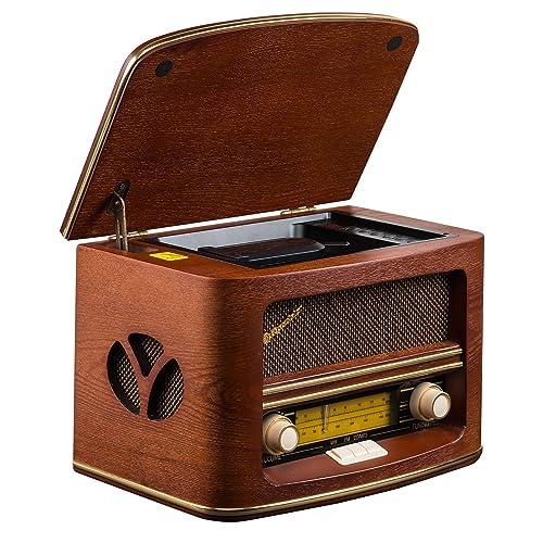 Roadstar HRA-1500MP - Radio con CD, MP3, WMA, diseño retro, madera