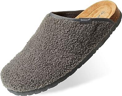 Dunlop Ciabatte Uomo, Pantofole Invernali da Casa, Ciabatta Antiscivolo con Pelliccia E Soletta Memory Foam, Babbucce Calde E Comode, Idea Regalo Compleanno