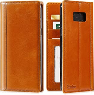 Galaxy S8 Plus Flip Case - iPulse Journal Series Italian Full Grain Leather Handmade Wallet Case for Samsung Galaxy S8+ - [Built-in Stand] [Card Slots Holder] - Cognac