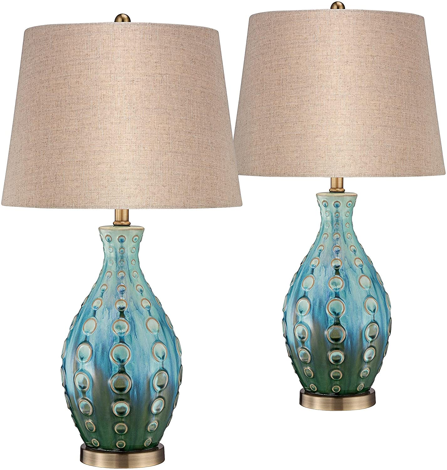 Mid Max 87% Free shipping anywhere in the nation OFF Century Modern Table Lamps Set Handmade of Ta Teal Ceramic 2