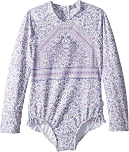 Seafolly Kids - Peacock Paisley Long Sleeve Surf Tank One-Piece (Infant/Toddler/Little Kids)