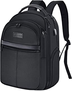 KROSER 15.6 inch Laptop Backpack Leather/Dobby Business Computer Backpack Water-repellent Premium Daypack with RFID Pockets USB Charging Port for Work/Business/College/Men/Women-Black