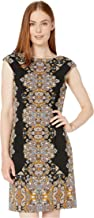 London Times Jewel Box Cap Sleeve Crepe Dress Black/Silver 12