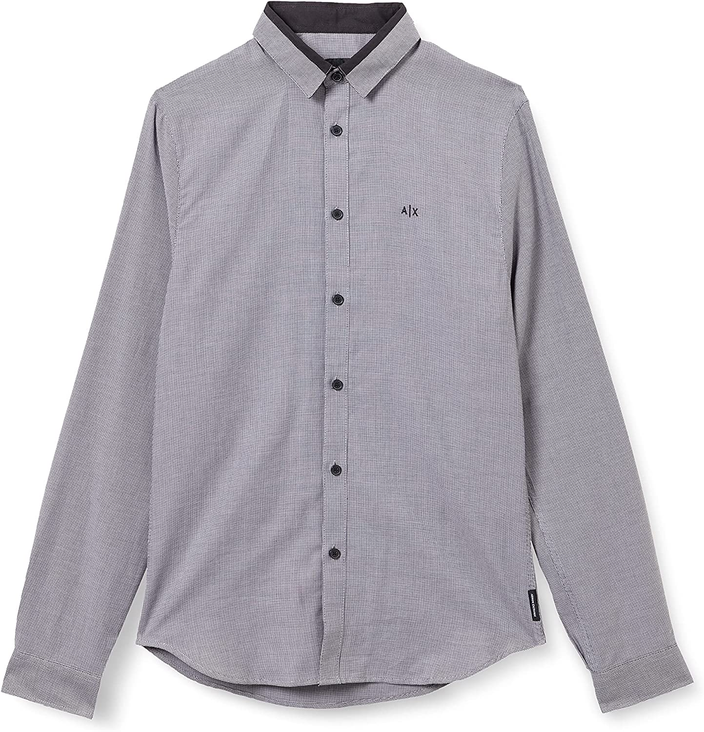 Shipping included AX Armani Exchange Men's Long Sleeve Up New Shipping Free Cot Button Pattern Micro