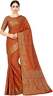 MIMOSA Women's Patola Art Silk Saree With un-stitched Blouse Piece (4574-2526-SD-RST_Orange)