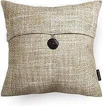 Phantoscope Beige Button Linen Decorative Throw Pillow Case Cushion Cover 18 x 18 inches 45 x 45 cm