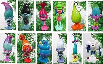 TROLLS Holiday Christmas Ornament Set - Unique Shatterproof Plastic Design