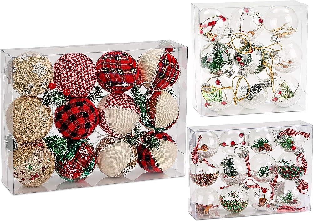 Brubaker set di 12 palline natalizie ricoperte di juta