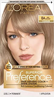 L'Oréal Paris Superior Preference Fade-Defying + Shine Permanent Hair Color, 8A Ash Blonde, 1 kit Hair Dye