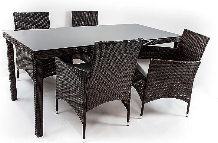 Tavolo con 4 sedie - sedia 60x84x62cm, tavolo 180x74x80cm set di mobili da giardino avanti trendstore 2201,6