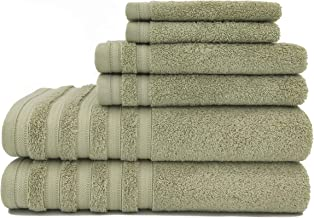 Baltic Linen Pure Elegance 100% Turkish Cotton Luxury Towels, 2 Bath Towels, 2 Hand Towels, 2 Washcloths, Sage Green, 6 Pi...