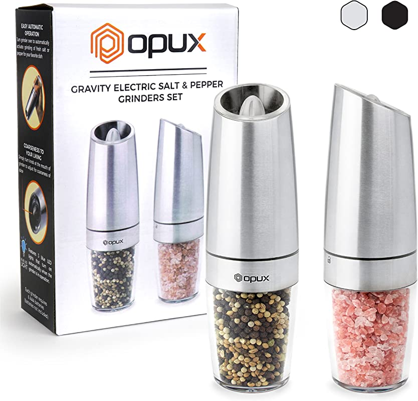 OPUX Premium Gravity Electric Salt And Pepper Grinder Set Of 2 Battery Powered Salt Shakers Automatic One Hand Pepper Mills With LED Light Adjustable Coarseness Steel