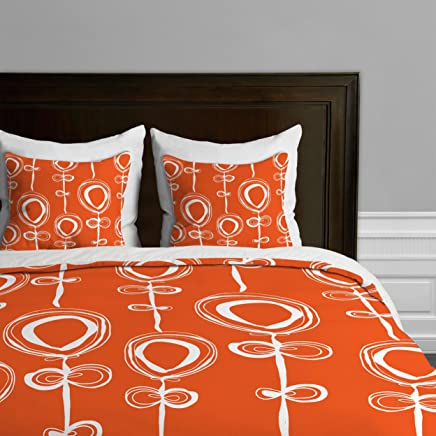 Deny Designs  Rachael Taylor Contemporary Orange Duvet Cover,  King