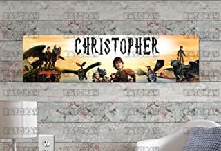 Customized Name Painting How to Train Your Dragon Movie Poster with Your Name On It Personalized Banner