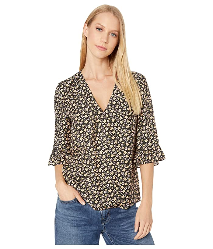 Rebecca Taylor  Long Sleeve Louisa Floral Top (Yellow Combo) Womens Clothing