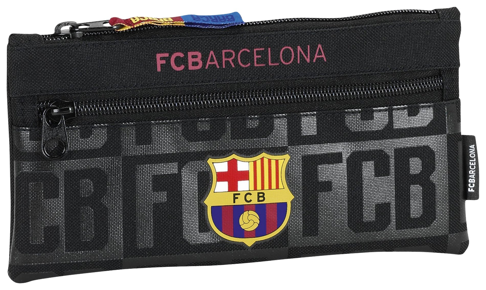 Safta Estuche Doble Cremallera F.C.Barcelona Black Oficial Escolar 230x110mm: Amazon.es: Juguetes y juegos