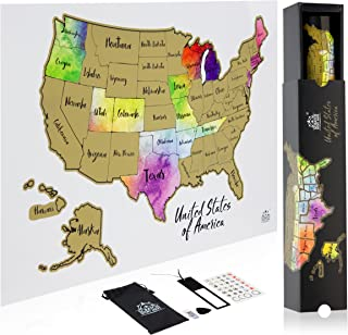 Scratch Off Map Of The United States In STUNNING WATERCOLOR Poster - Your 12 x 18 USA Map Has Easy Scratch Off Gold Foil And Reveals All US States - Gorgeous Full Color Gift Box Included