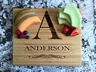 Personalized Wood Cutting Boards Anderson Design - Perfect Gifts For Weddings, Bridal Showers, and Housewarmings - (11 x 13 Single Tone Bamboo Rectangular)