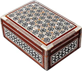 CraftsOfEgypt Jewelry Box Mother of Pearl - Egyptian Decorative Mosaic Jewelry Trinket Box - Convenient Inlaid Box for Jewelry and Other Small Items – Ideal Trinket Box for Gifting a Loved One