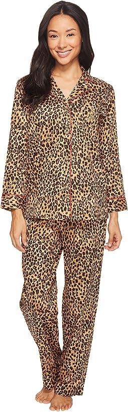 LAUREN Ralph Lauren - Petite Folded Sateen Leopard Pajama