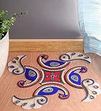 Itiha Blue Acrylic Marble Finish Peacock Rangoli Indian Decor for Wall Decoration, Floor Decoration & Table Decoration for Diwali & Christmas (15 inch 15 inch)