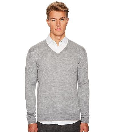 eleventy Fine Gauge V-Neck Sweater (Grey) Men