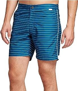 Mens Swim Trunks (36, Horizontal Stripe Blue)