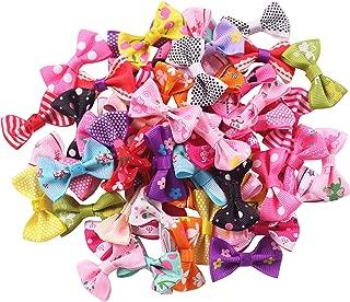 YAKA 60pcs(30pairs) 1.5inch Grosgrain Ribbon Mini Bow Ties Craft Rose Appliques Craft Wedding Hair Bow DIY Decor 30Color (Style2)