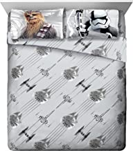 Star Wars Ep 8 Epic Poster Gray 4 Piece Queen Sheet Set with Chewbacca & Stormtrooper
