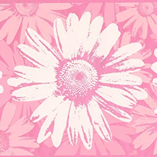 Abstract Rose Pink White Flowers Wide Wallpaper Border Paint by Design, Roll 15' x 9''