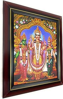 God Murugan Valli Devanai, PE013 Deities Photos with Wooden Brown Frame, GOD MURUGAN Valli DEVANAI