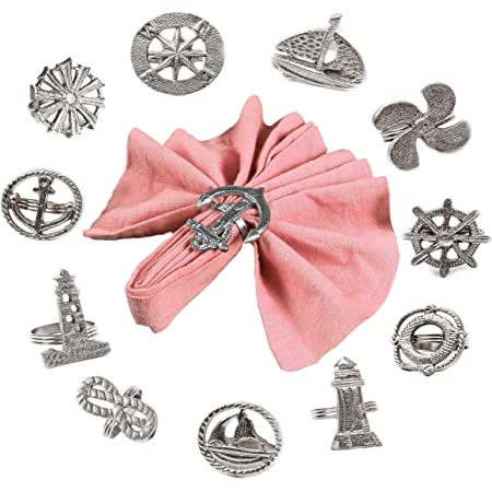 Amazon Com Sailor Napkin Rings Set Of 12 Assorted Nautical Napkin Holders Coastal Napkin Rings Bulk For Party Decoration Dinning Table Everyday Family Gatherings A Great Tabletop Décor Silver Home Kitchen