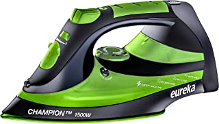 EUREKA ER15001 Champion 1500-Watt Micro Steam Iron Patent Nano Ceramic Soleplate with Auto-Off, Anti Drip, Green