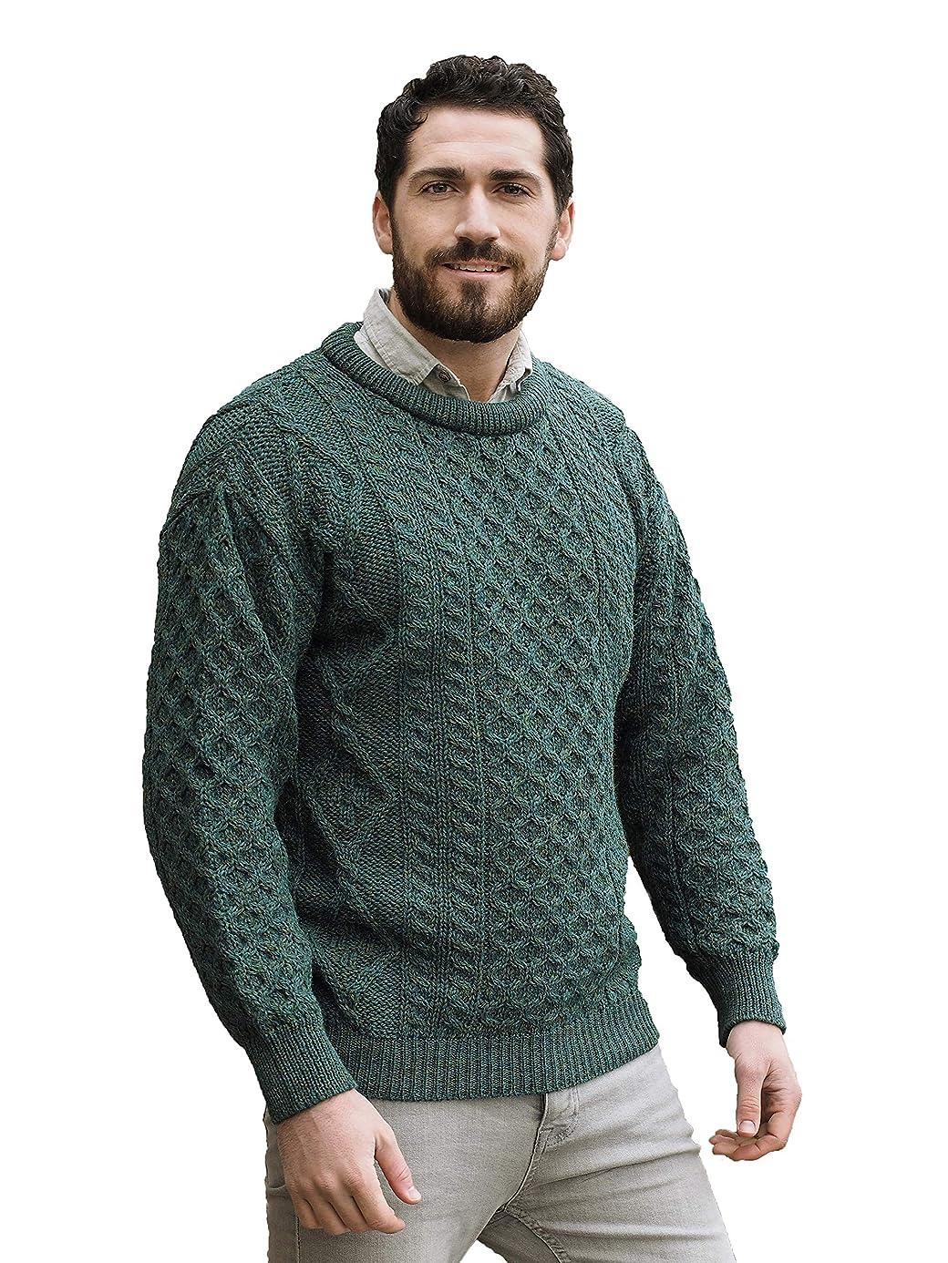 Aran Crafts Traditional Aran Crew Neck Sweater (100% Pure New Wool) Ecru, Skiddaw, Blackwatch Colors clr3088698
