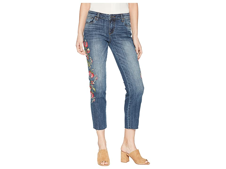 KUT from the Kloth Reese Ankle Straight Leg Jeans w/ Raw Hem in Rectified/Medium Base Wash (Rectified/Medium Base Wash) Women