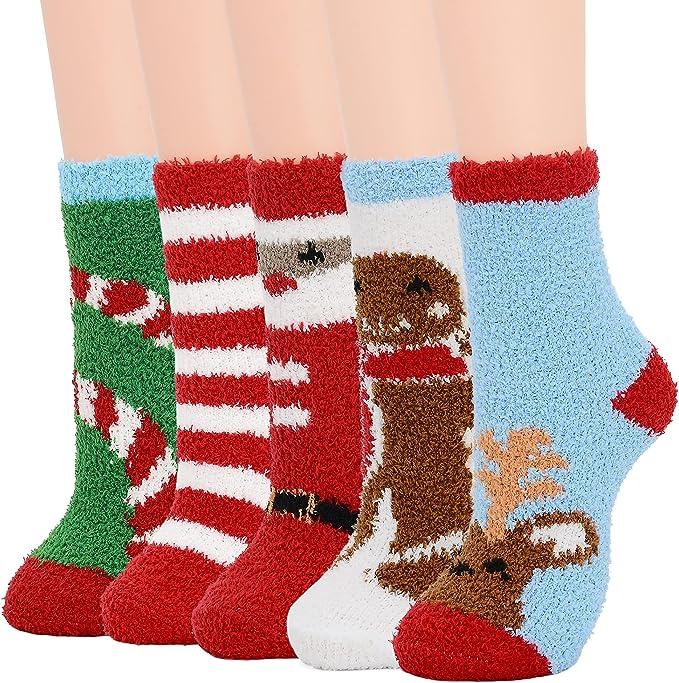 Fuzzy Christmas socks.