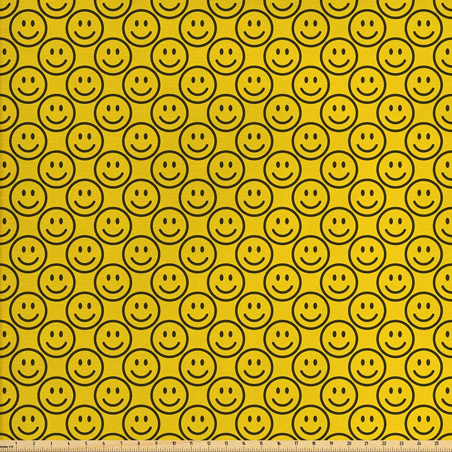 Ambesonne Emoji Fabric by The Yard, Flat Smiley Faces Expressing Happiness in Diagonal Order Joyful Childhood, Decorative Fabric for Upholstery and Home Accents, 1 Yard, Charcoal Grey Yellow