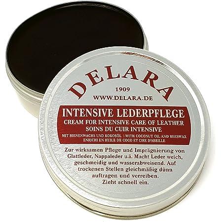 DELARA Entretien intensif du Cuir, Couleur: Noir, 75 ML - Imprègne et protège Le Cuir très efficacement, Nouvelle Formule à Base d'huile de Coco et Cire d'abeille de Haute qualité