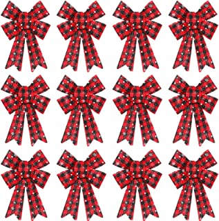 Large Christmas Bow Buffalo Plaid Christmas Wreath Bow PVC Plastic Xmas Plaid Check Wrapping Bow for Christmas Indoor Outdoor Decorations with Snowflakes and White Dots (12 Pieces, 5.9 x 8.7 Inch)