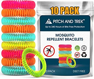 Mosquito Repellent Bracelet for Kids, Adults & Pets - 100% Natural Deet-Free – Non Toxic - Waterproof Safe Travel Anti Insect Bands – 10 Pack - Extreme USA Protection