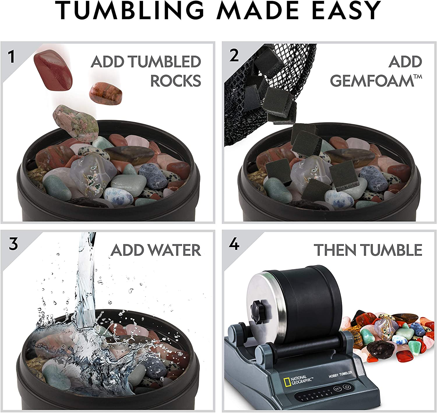 GemFoam Reusable Rock Polisher Foam Adds Shine to Tumbled Rocks and Minerals Use After Rock Tumbler Grit Cycles Rock Tumbling Supplies NATIONAL GEOGRAPHIC Rock Tumbler Media