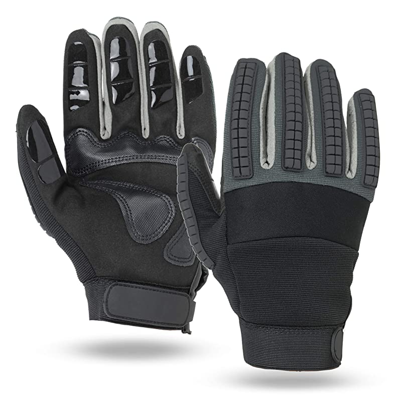 Illinois Glove Company, Heavy Duty Reinforced Mechanics Gloves, Black and Gray, Unlined snambung743967