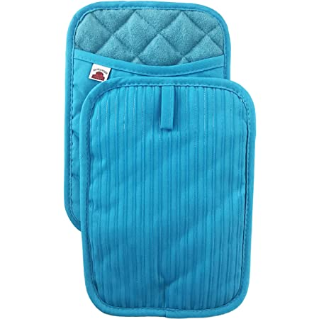Potholders for Kitchens 2 Pack Teal 7X9 Turquoise Pinch Mitts for Cooking Hot Pads Heat Resistant Thick Rectangular Oven Pot Holders with Hand Pockets and Hanging Loop