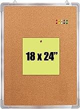 Cork Board Set - Bulletin Corkboard 18 x 24 inch Framed with 10 Thumb Tacks - Small Wall Hanging Message Memo Pin Tackboar...