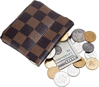 Luxury Checkered Vegan Leather Squeeze Coin Purse Pouch Change Holder For Men & Women (Victoria)
