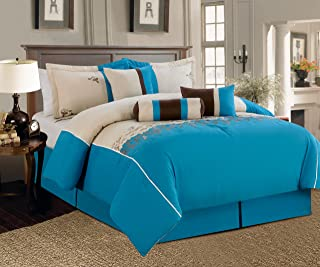 """WPM/AHF 7 Pieces Luxury Embroidery Comforter Set (102""""x92"""") Bed-in-a-Bag Luxury King Size Bedding (Blue)"""
