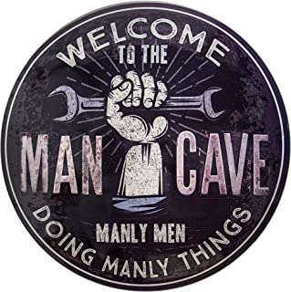 Welcome to The Man Cave Dome Shaped Metal Sign Wall Decor for Bar, Garage or Man Cave (15